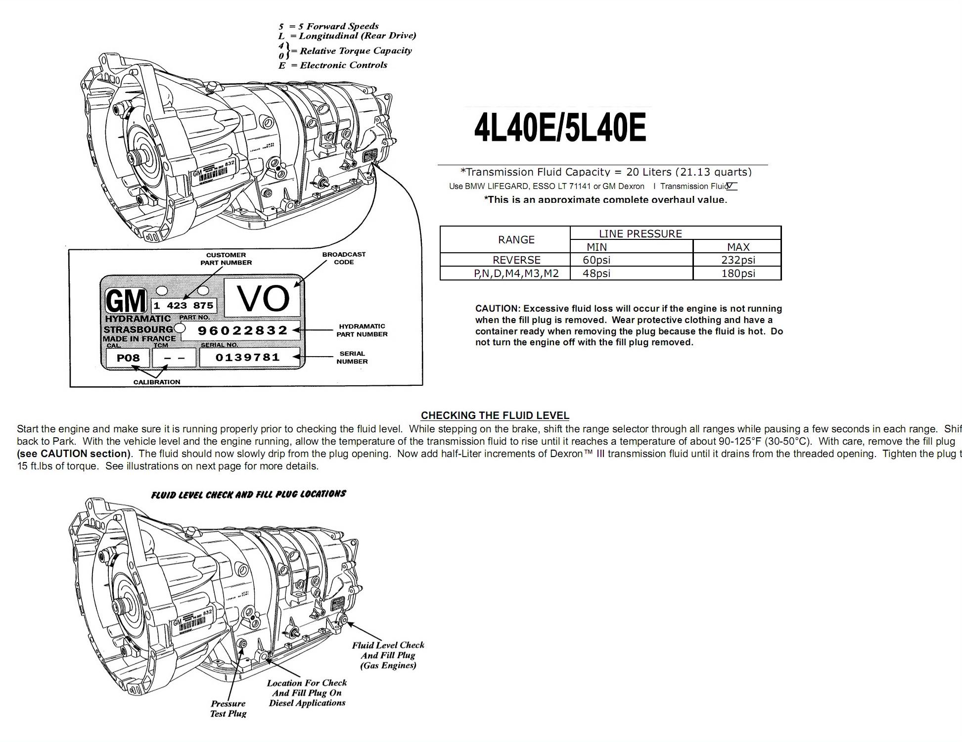 Transmission repair manuals GM 5L40E/ 5L50E | Instructions