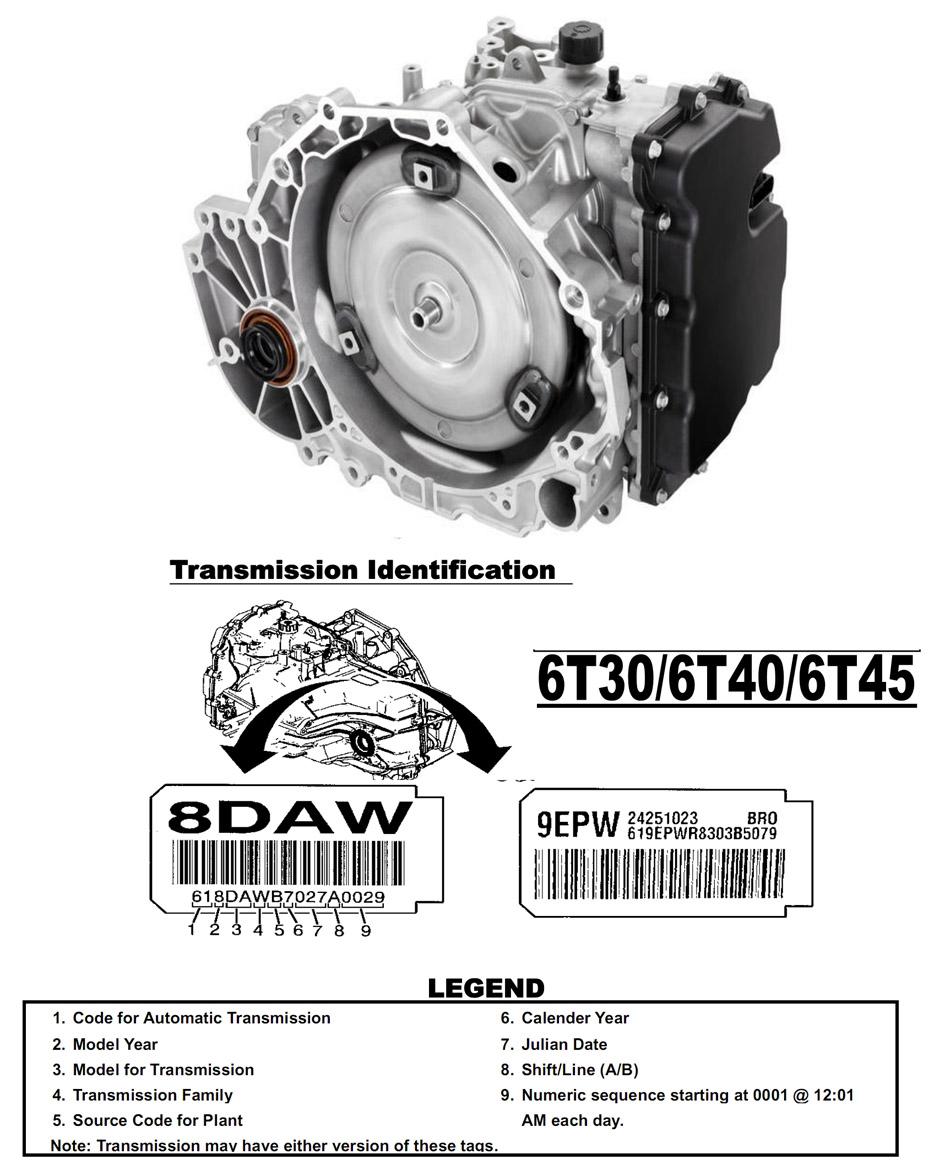 Transmission repair manuals GM 6T45 - 6T40 / 6T50 /6T30