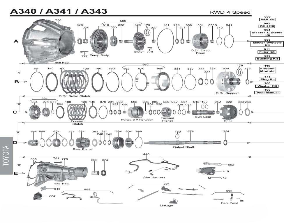 Transmission Repair Manuals A340  A341  A343  30