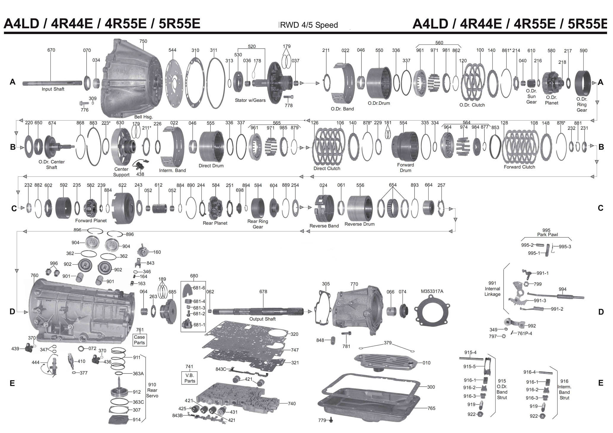 Transmission Repair Manuals A4ld 4r55e   U04213