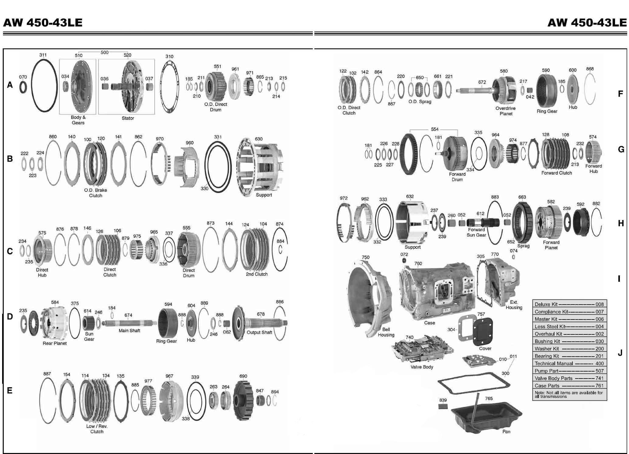 Transmission repair manuals AW 450-43LE | Rebuild instructions