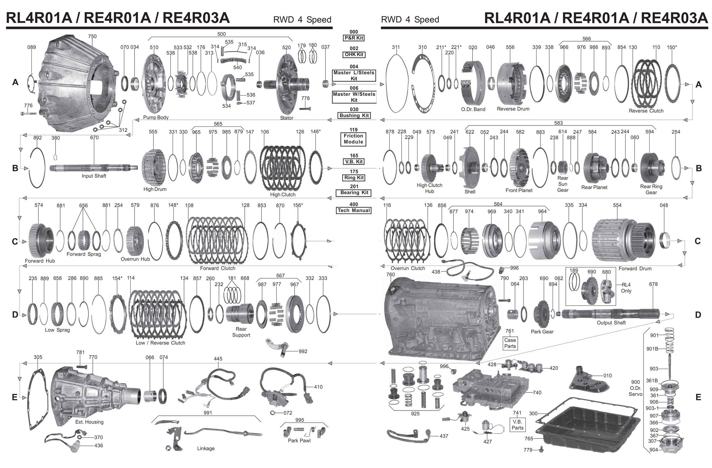 Transmission Repair Manuals Re4r01a    Rl4r01a  Jr402
