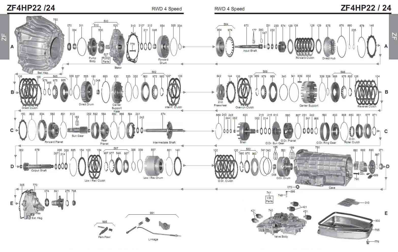 Transmission repair manuals ZF 4HP22 / 4HP24 | Instructions for