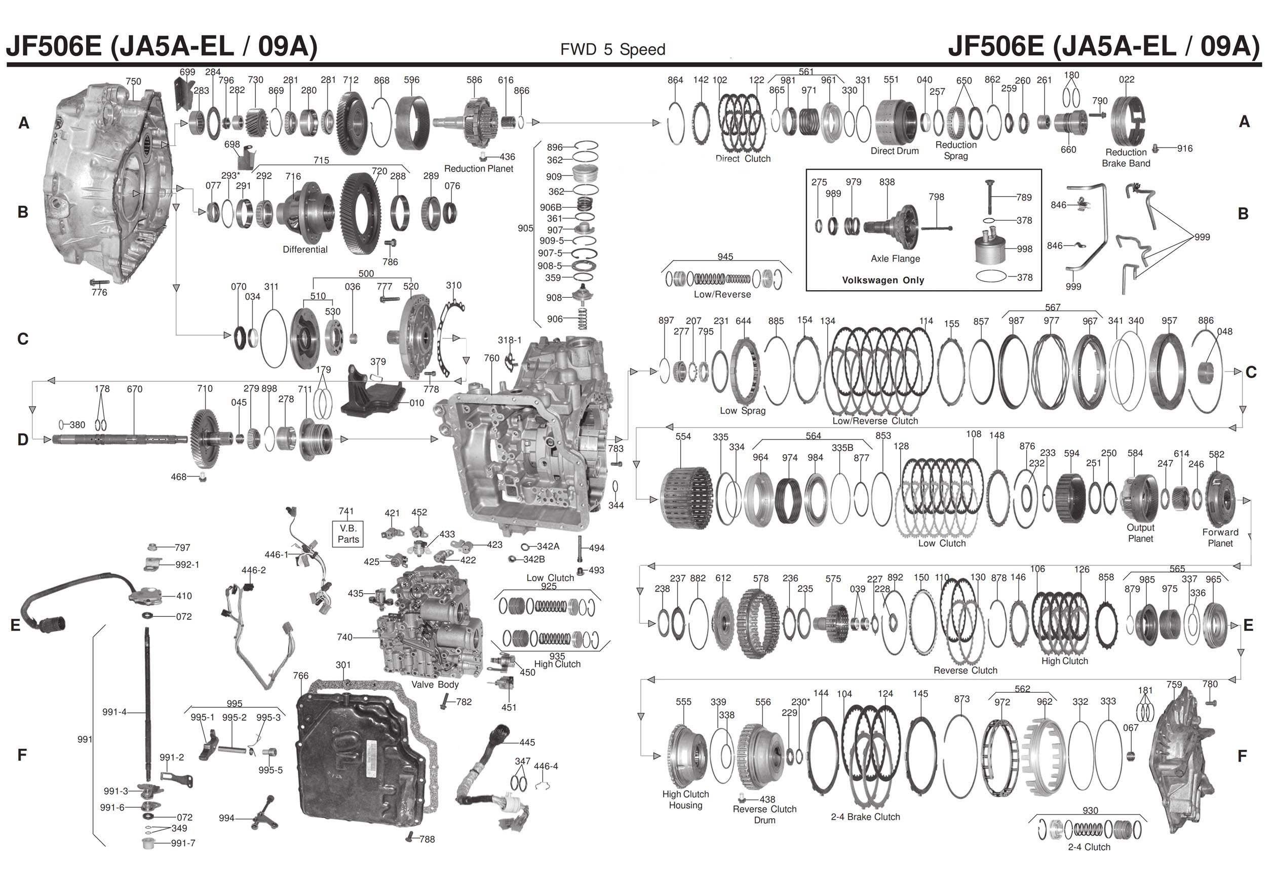 Transmission Repair Manuals 09a Vw  Jf506e  Ja5a