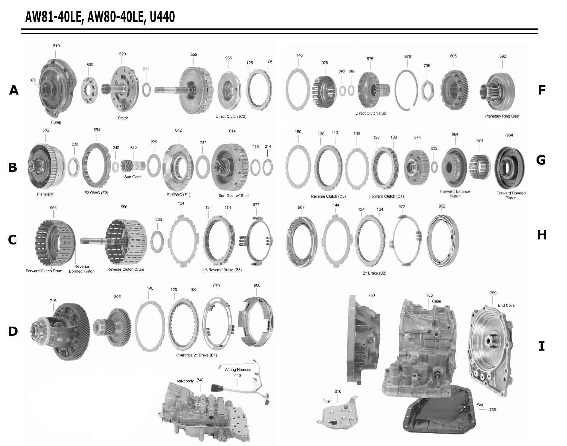 Transmission Repair Manuals U440e   Aw80  81